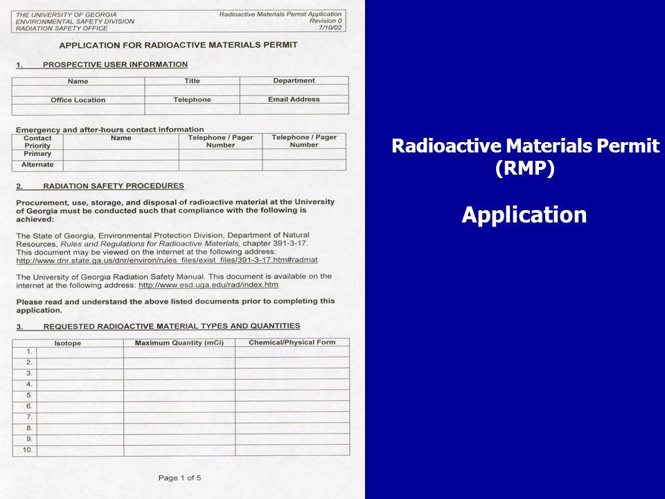 Radioactive Materials Permit (RMP) Application