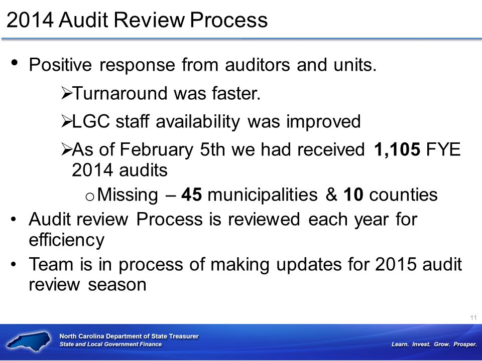 2014 Audit Review Process Positive response from auditors and units.  Turnaround was faster.  LGC staff availability was improved  As of February 5