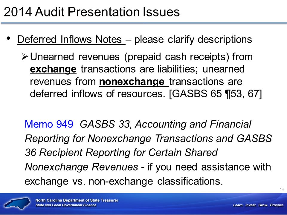 Deferred Inflows Notes – please clarify descriptions  Unearned revenues (prepaid cash receipts) from exchange transactions are liabilities; unearned
