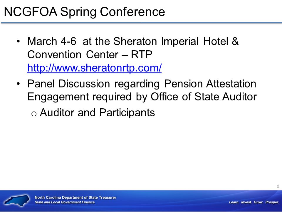 NCGFOA Spring Conference March 4-6 at the Sheraton Imperial Hotel & Convention Center – RTP http://www.sheratonrtp.com/ http://www.sheratonrtp.com/ Pa