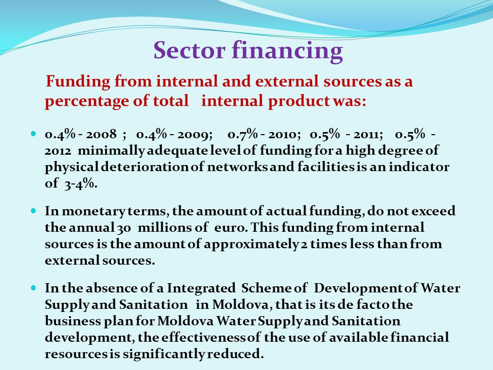 Sector financing Funding from internal and external sources as a percentage of total internal product was: 0.4% - 2008 ; 0.4% - 2009; 0.7% - 2010; 0.5