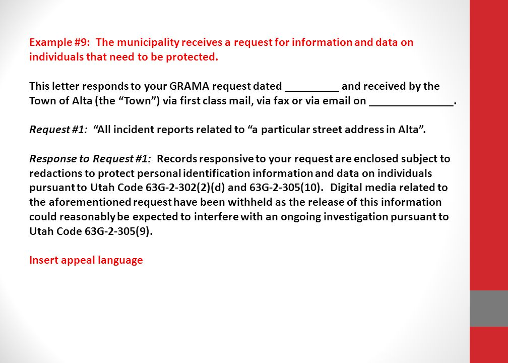 Example #9: The municipality receives a request for information and data on individuals that need to be protected.