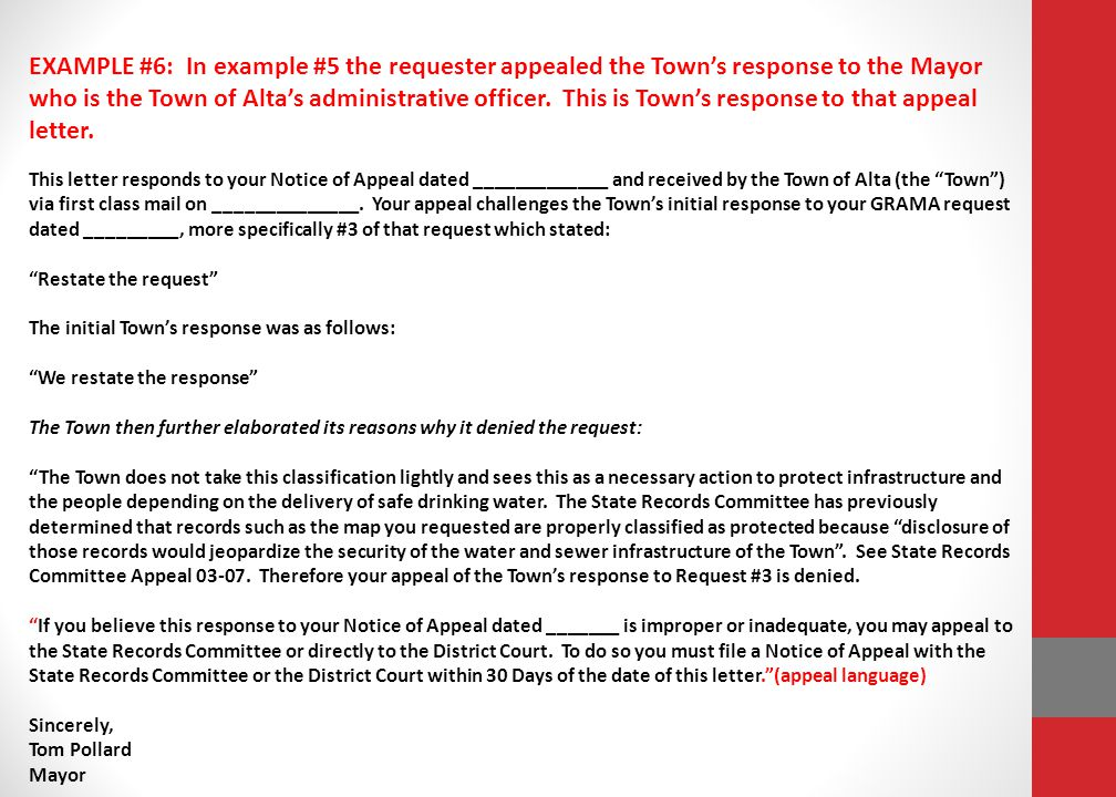 EXAMPLE #6: In example #5 the requester appealed the Town's response to the Mayor who is the Town of Alta's administrative officer.