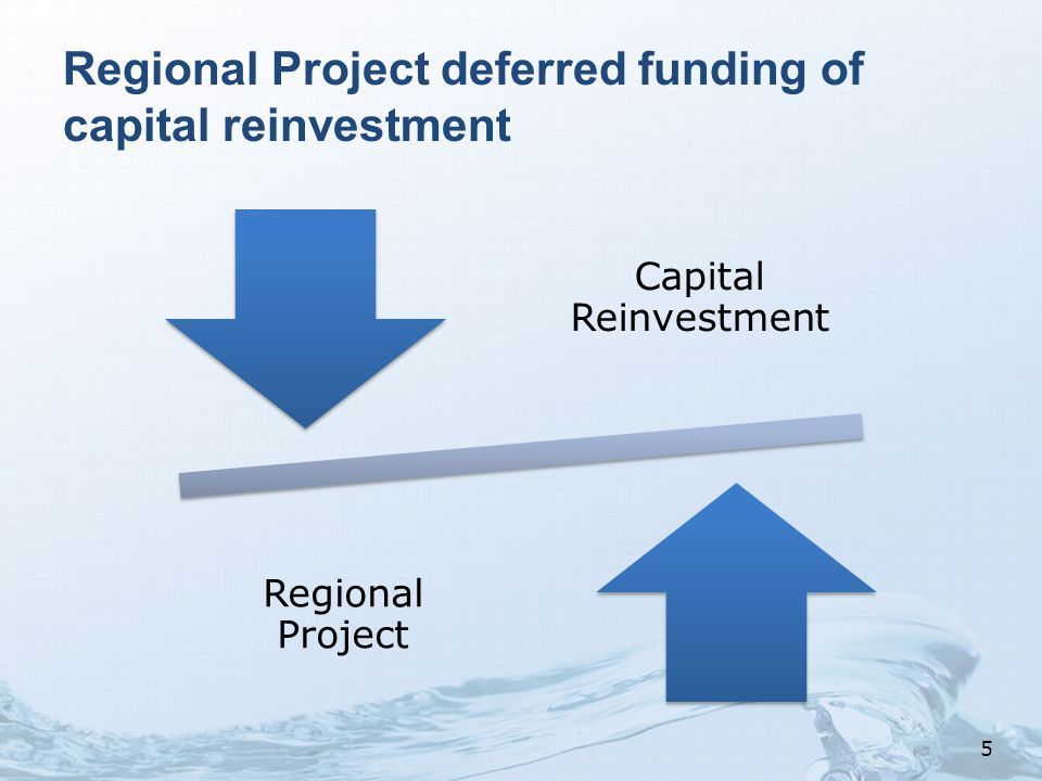 Regional Project deferred funding of capital reinvestment Capital Reinvestmen t Regional Project 5