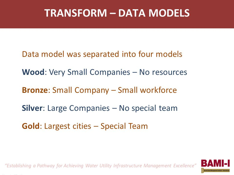 TRANSFORM – DATA MODELS Data model was separated into four models Wood: Very Small Companies – No resources Bronze: Small Company – Small workforce Silver: Large Companies – No special team Gold: Largest cities – Special Team