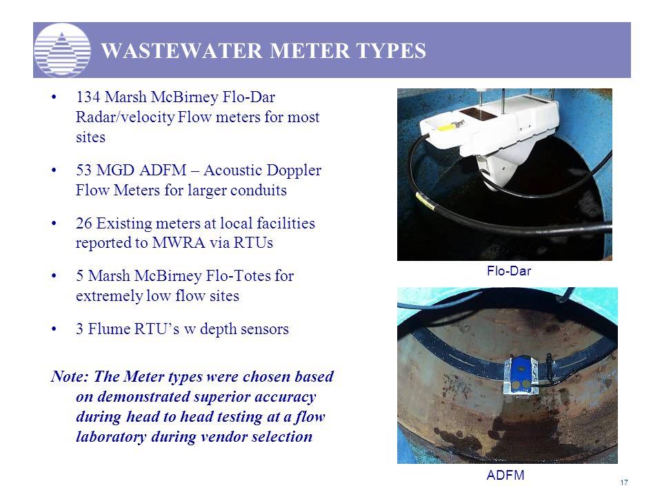 17 WASTEWATER METER TYPES 134 Marsh McBirney Flo-Dar Radar/velocity Flow meters for most sites 53 MGD ADFM – Acoustic Doppler Flow Meters for larger c