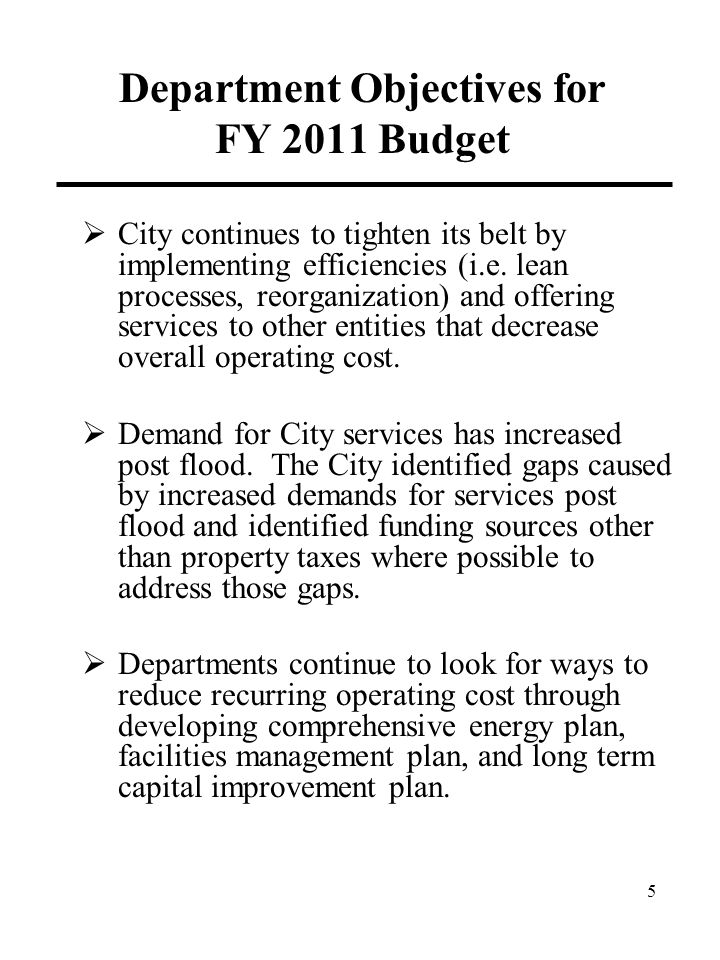 Department Objectives for FY 2011 Budget  City continues to tighten its belt by implementing efficiencies (i.e.