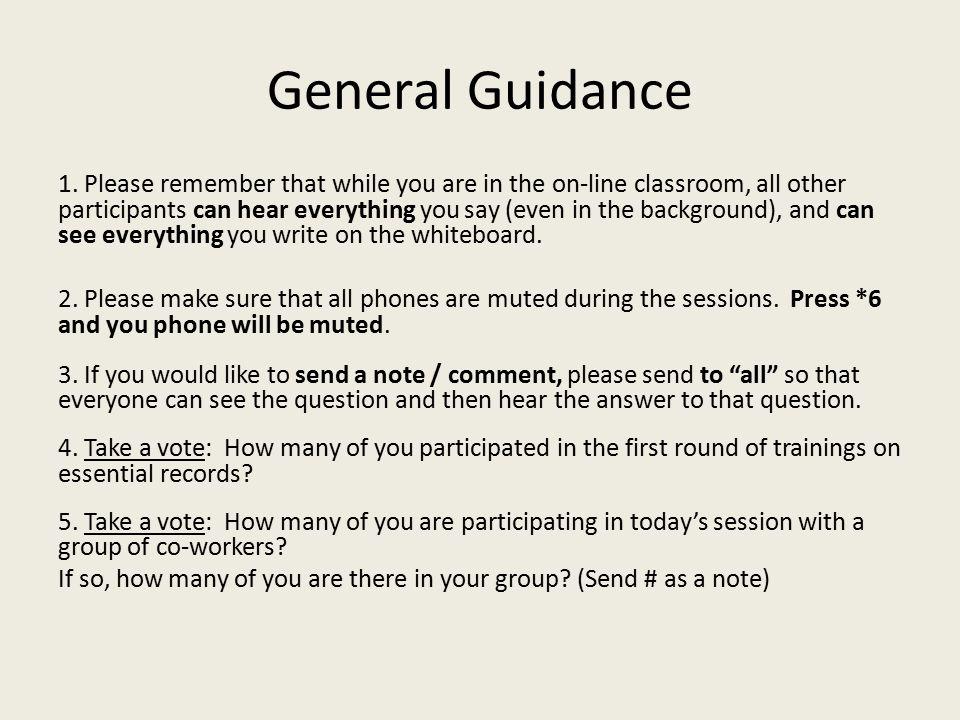 General Guidance 1.