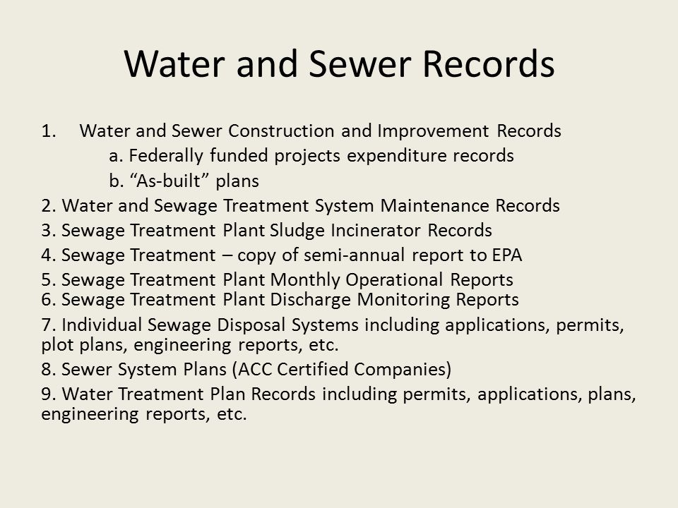 Water and Sewer Records 1.Water and Sewer Construction and Improvement Records a.