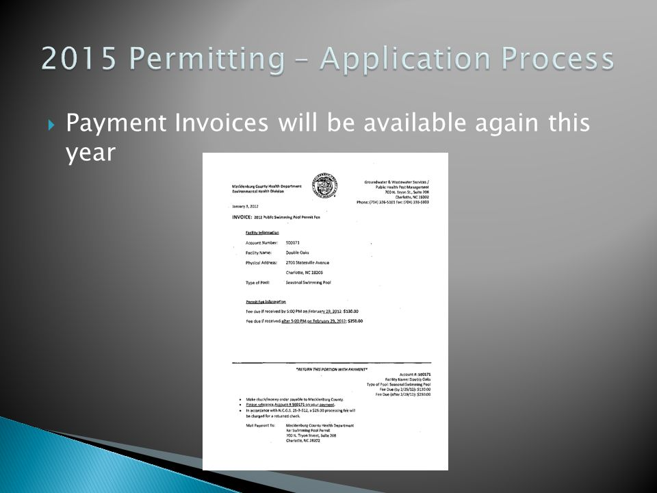  Payments can be submitted by check or through credit card  If submitting a payment separate from the application, write the permit ID on bottom of check