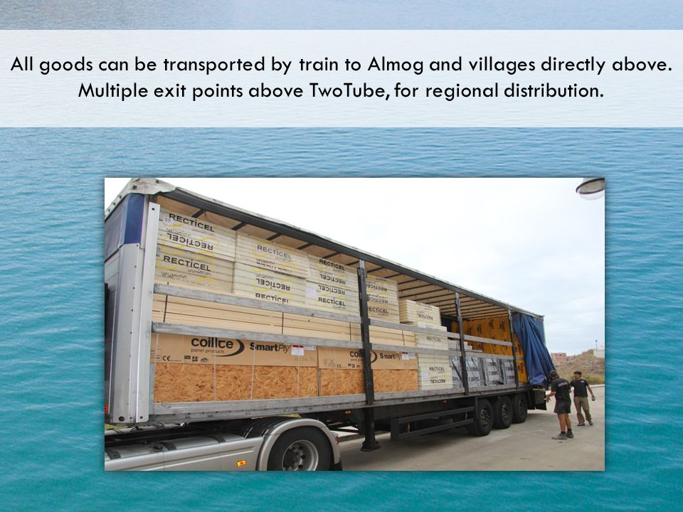All goods can be transported by train to Almog and villages directly above.