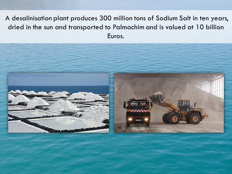 A desalinisation plant produces 300 million tons of Sodium Salt in ten years, dried in the sun and transported to Palmachim and is valued at 10 billio