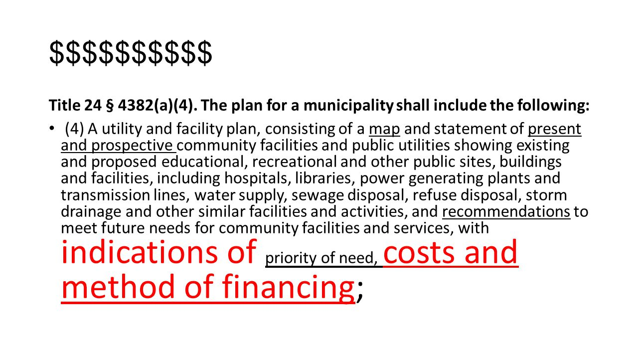 $$$$$$$$$$ Title 24 § 4382(a)(4). The plan for a municipality shall include the following: (4) A utility and facility plan, consisting of a map and st