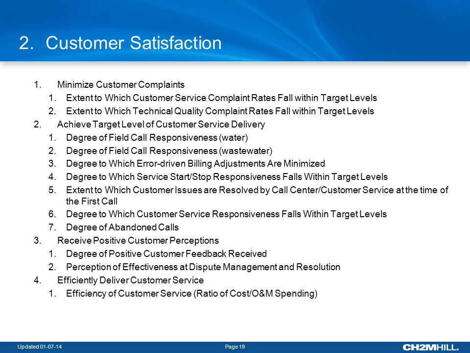 Updated 01-07-14Page 19 2.Customer Satisfaction 1.Minimize Customer Complaints 1.Extent to Which Customer Service Complaint Rates Fall within Target Levels 2.Extent to Which Technical Quality Complaint Rates Fall within Target Levels 2.Achieve Target Level of Customer Service Delivery 1.Degree of Field Call Responsiveness (water) 2.Degree of Field Call Responsiveness (wastewater) 3.Degree to Which Error-driven Billing Adjustments Are Minimized 4.Degree to Which Service Start/Stop Responsiveness Falls Within Target Levels 5.Extent to Which Customer Issues are Resolved by Call Center/Customer Service at the time of the First Call 6.Degree to Which Customer Service Responsiveness Falls Within Target Levels 7.Degree of Abandoned Calls 3.Receive Positive Customer Perceptions 1.Degree of Positive Customer Feedback Received 2.Perception of Effectiveness at Dispute Management and Resolution 4.Efficiently Deliver Customer Service 1.Efficiency of Customer Service (Ratio of Cost/O&M Spending)