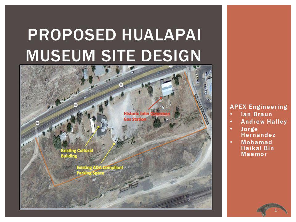 APEX Engineering Ian Braun Andrew Halley Jorge Hernandez Mohamad Haikal Bin Maamor PROPOSED HUALAPAI MUSEUM SITE DESIGN 1