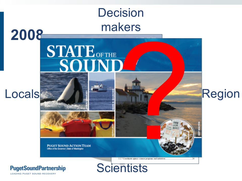 2008 Priorities Actions Gaps & needs Priorities Actions Gaps & needs Locals Region Scientists Decision makers Actions