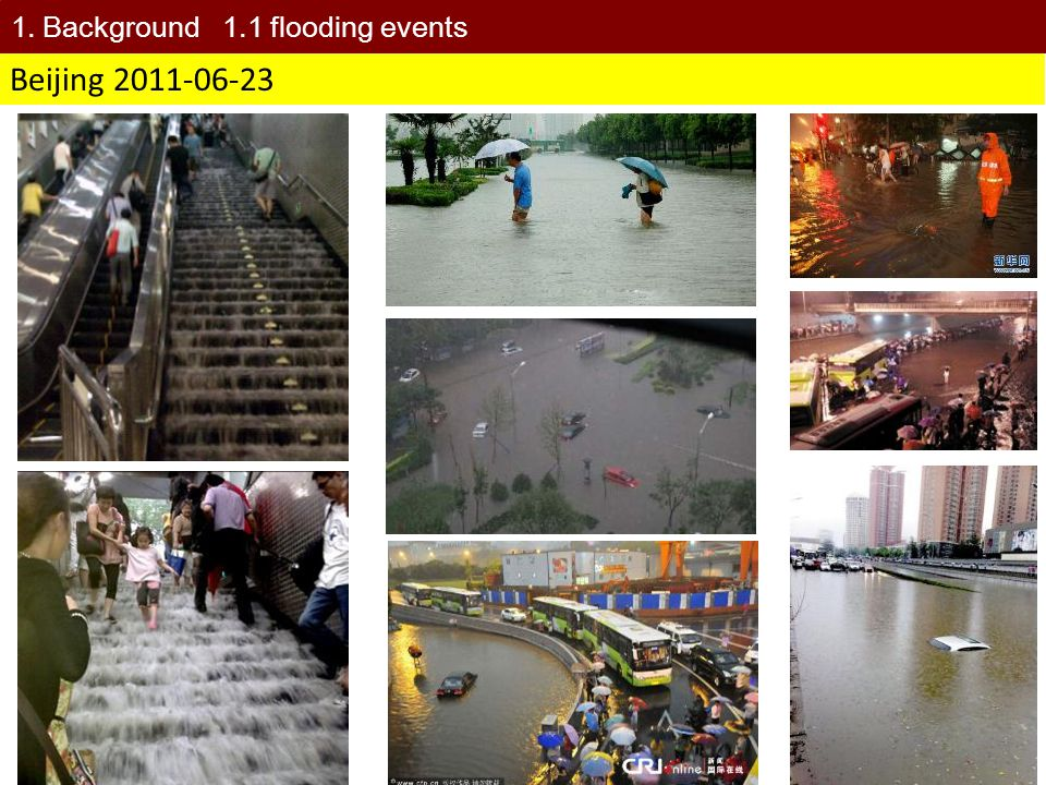 2012-07-21 Beijing Average precipitation was 170mm with the maximum of 460mm in Beijing on 21 July 2012.