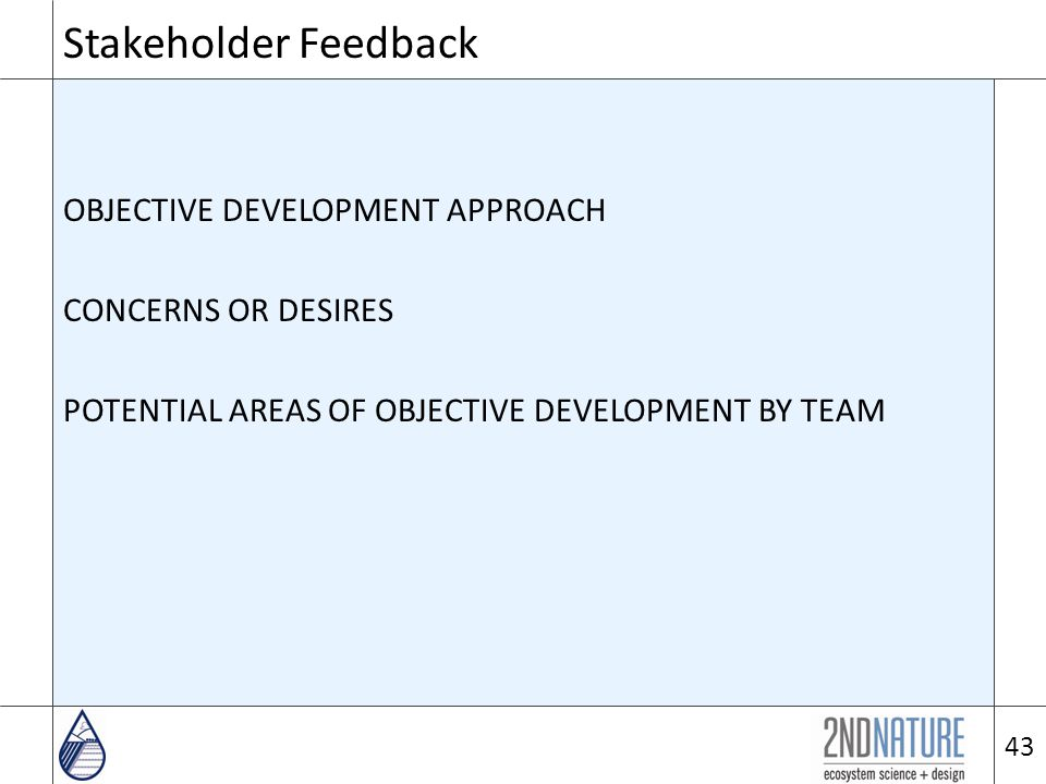 Stakeholder Feedback OBJECTIVE DEVELOPMENT APPROACH CONCERNS OR DESIRES POTENTIAL AREAS OF OBJECTIVE DEVELOPMENT BY TEAM 43