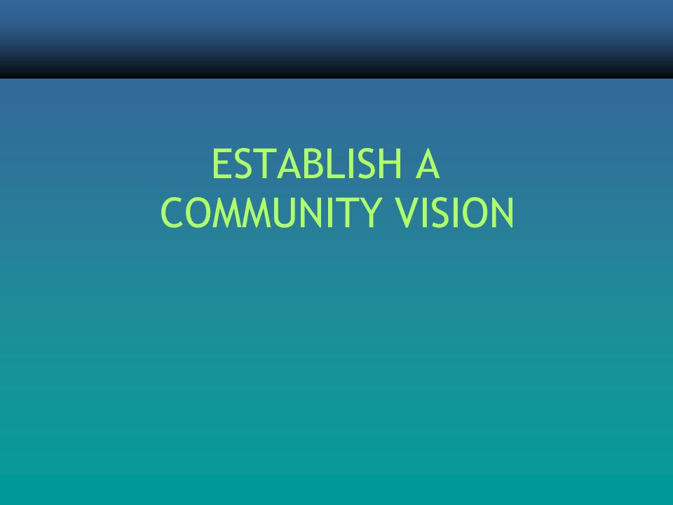 ESTABLISH A COMMUNITY VISION