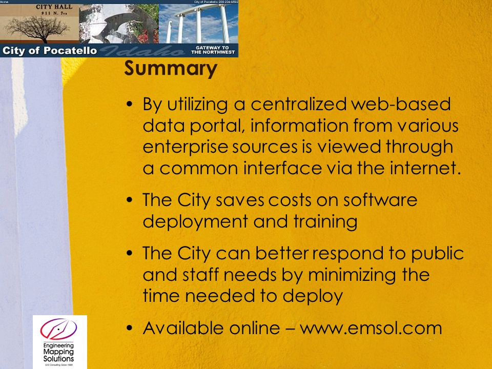 Summary By utilizing a centralized web-based data portal, information from various enterprise sources is viewed through a common interface via the int