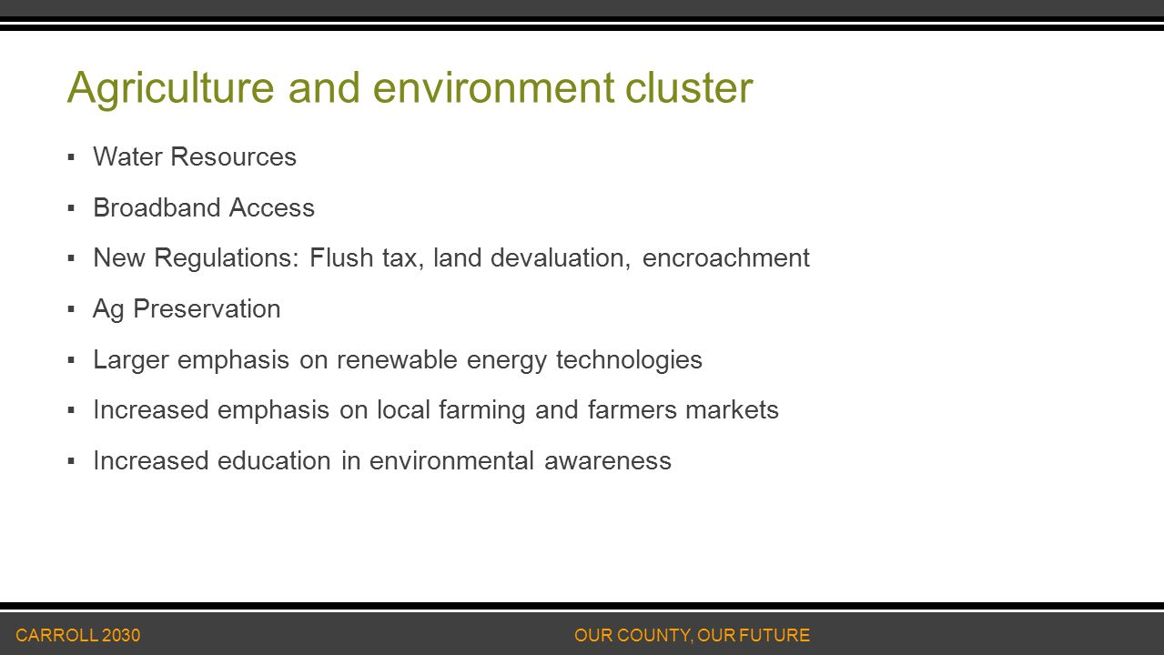 Agriculture and environment cluster ▪Water Resources ▪Broadband Access ▪New Regulations: Flush tax, land devaluation, encroachment ▪Ag Preservation ▪Larger emphasis on renewable energy technologies ▪Increased emphasis on local farming and farmers markets ▪Increased education in environmental awareness CARROLL 2030 OUR COUNTY, OUR FUTURE