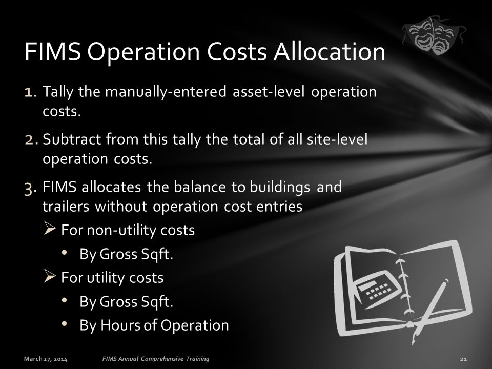 1. Tally the manually-entered asset-level operation costs. 2. Subtract from this tally the total of all site-level operation costs. 3. FIMS allocates