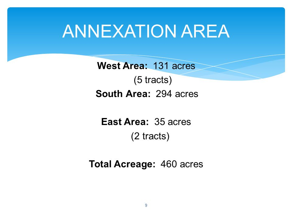 West Area: 131 acres (5 tracts) South Area: 294 acres East Area: 35 acres (2 tracts) Total Acreage: 460 acres ANNEXATION AREA 9