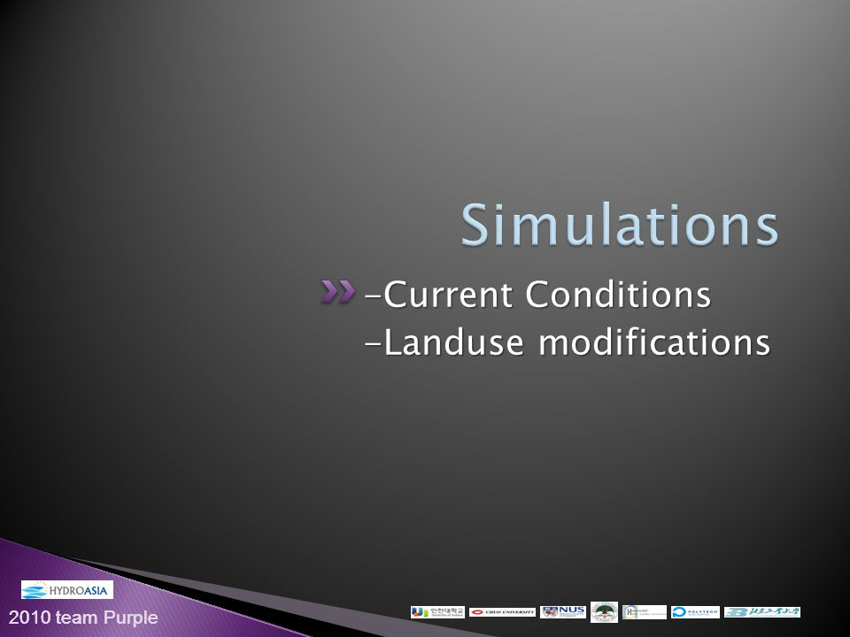2010 team Purple -Current Conditions -Landuse modifications