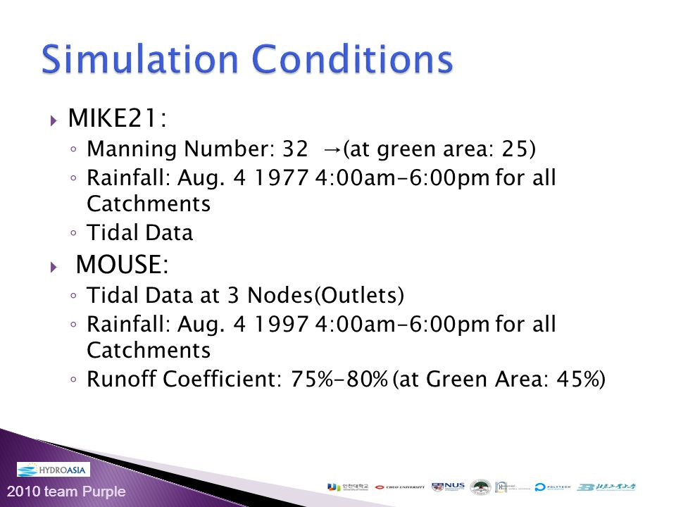 2010 team Purple  MIKE21: ◦ Manning Number: 32 →(at green area: 25) ◦ Rainfall: Aug.