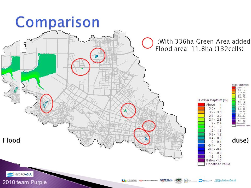 2010 team Purple Flood Areas (Before Changing Landuse)Flood Areas (After Changing Landuse) : No Green Area added: flood area: 43.7ha (486cells) :With 336ha Green Area added: Flood area: 11.8ha (132cells)