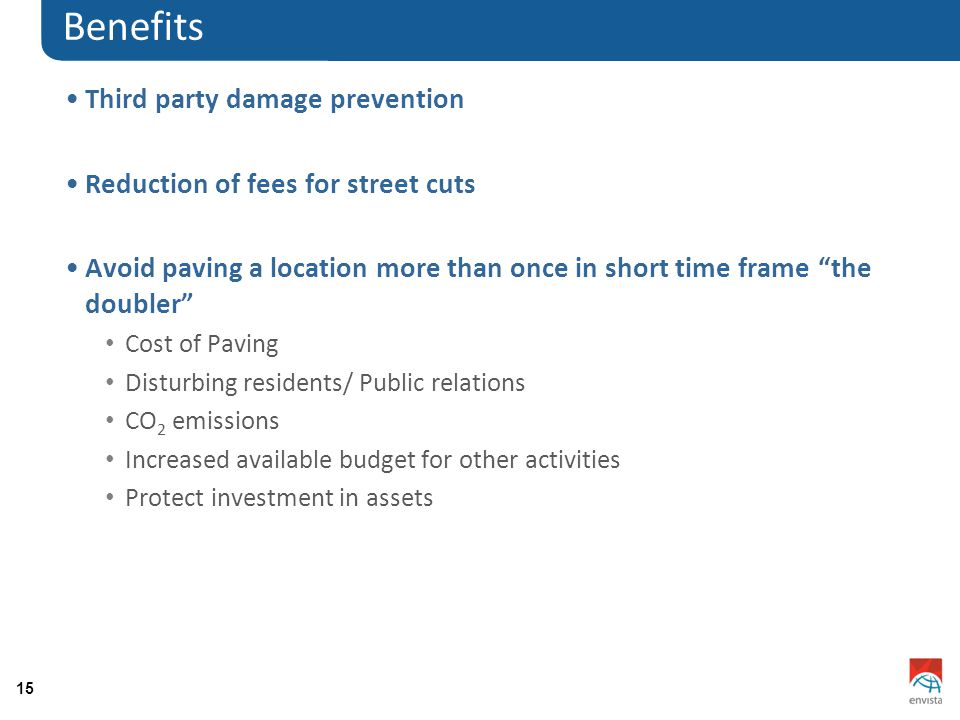15 Benefits Third party damage prevention Reduction of fees for street cuts Avoid paving a location more than once in short time frame the doubler Cost of Paving Disturbing residents/ Public relations CO 2 emissions Increased available budget for other activities Protect investment in assets