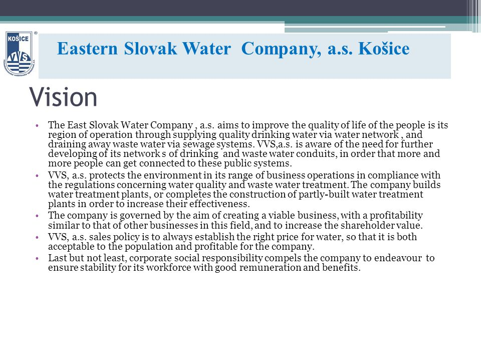 Vision The East Slovak Water Company, a.s.