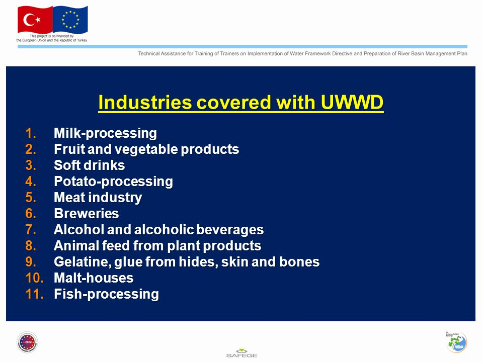 Industries covered with UWWD 1.Milk-processing 2.Fruit and vegetable products 3.Soft drinks 4.Potato-processing 5.Meat industry 6.Breweries 7.Alcohol and alcoholic beverages 8.Animal feed from plant products 9.Gelatine, glue from hides, skin and bones 10.Malt-houses 11.Fish-processing