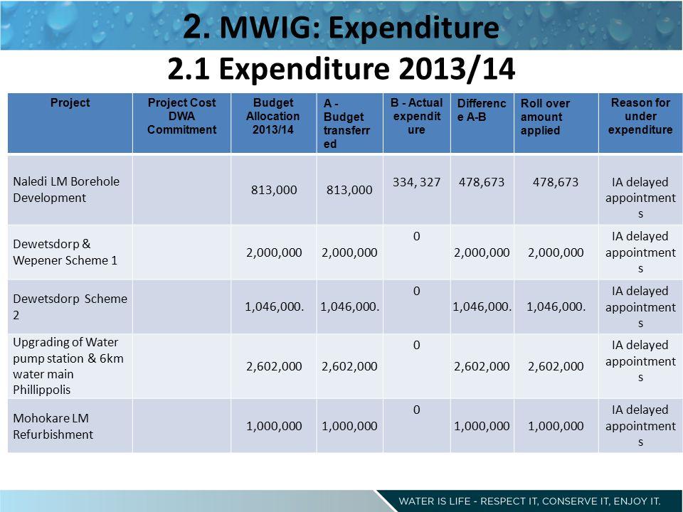 2. MWIG: Expenditure 2.1 Expenditure 2013/14