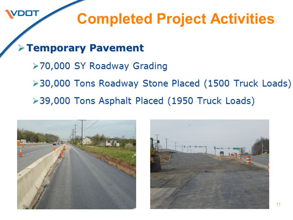 17  Temporary Pavement  70,000 SY Roadway Grading  30,000 Tons Roadway Stone Placed (1500 Truck Loads)  39,000 Tons Asphalt Placed (1950 Truck Loa