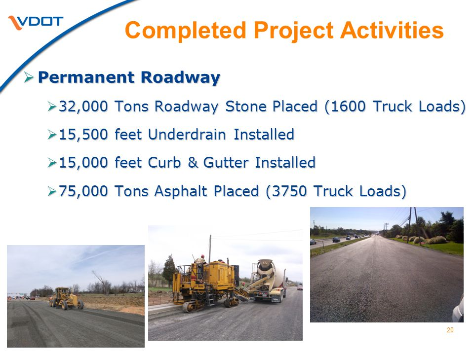 20  Permanent Roadway  32,000 Tons Roadway Stone Placed (1600 Truck Loads)  15,500 feet Underdrain Installed  15,000 feet Curb & Gutter Installed