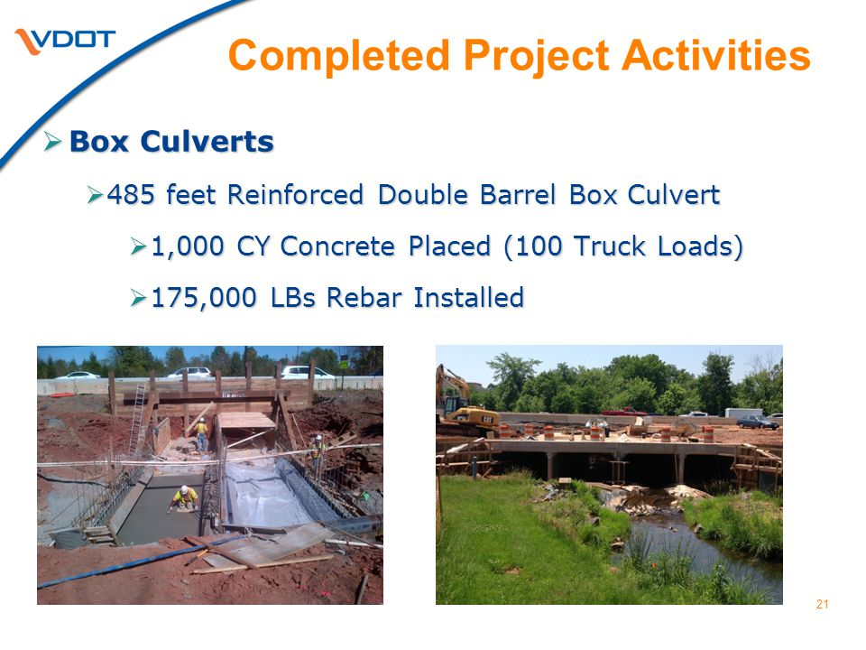 21  Box Culverts  485 feet Reinforced Double Barrel Box Culvert  1,000 CY Concrete Placed (100 Truck Loads)  175,000 LBs Rebar Installed Completed