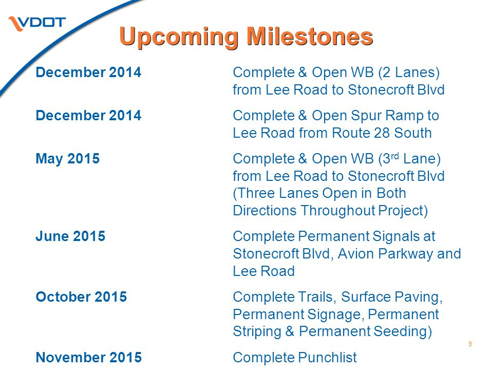 9 December 2014Complete & Open WB (2 Lanes) from Lee Road to Stonecroft Blvd December 2014Complete & Open Spur Ramp to Lee Road from Route 28 South Ma