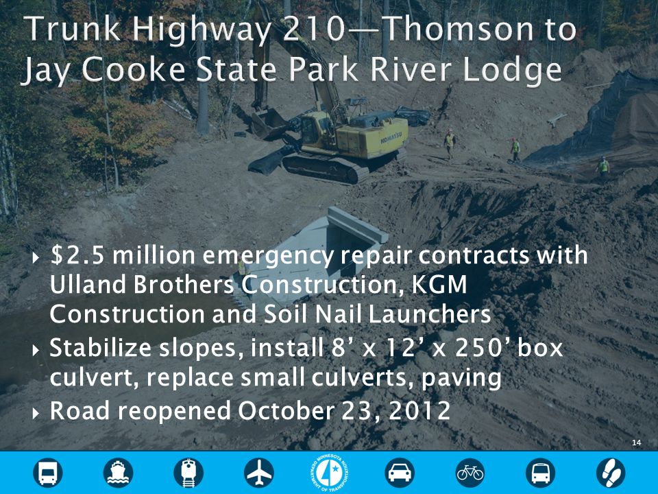  $2.5 million emergency repair contracts with Ulland Brothers Construction, KGM Construction and Soil Nail Launchers  Stabilize slopes, install 8' x 12' x 250' box culvert, replace small culverts, paving  Road reopened October 23, 2012 14