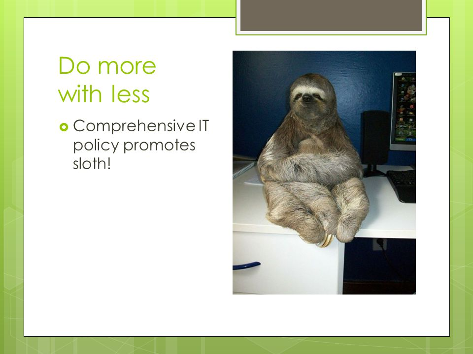 Do more with less  Comprehensive IT policy promotes sloth!
