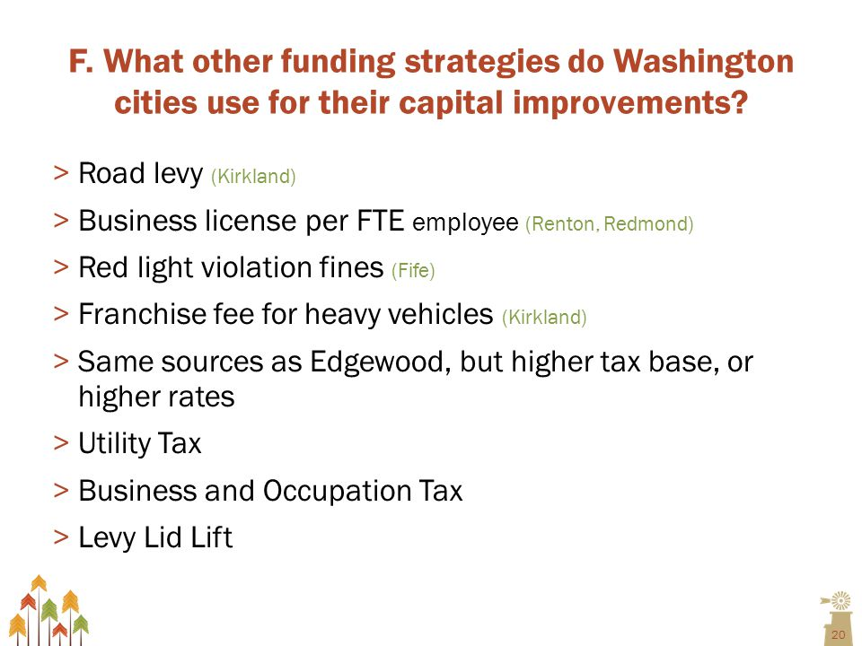 20 F. What other funding strategies do Washington cities use for their capital improvements.