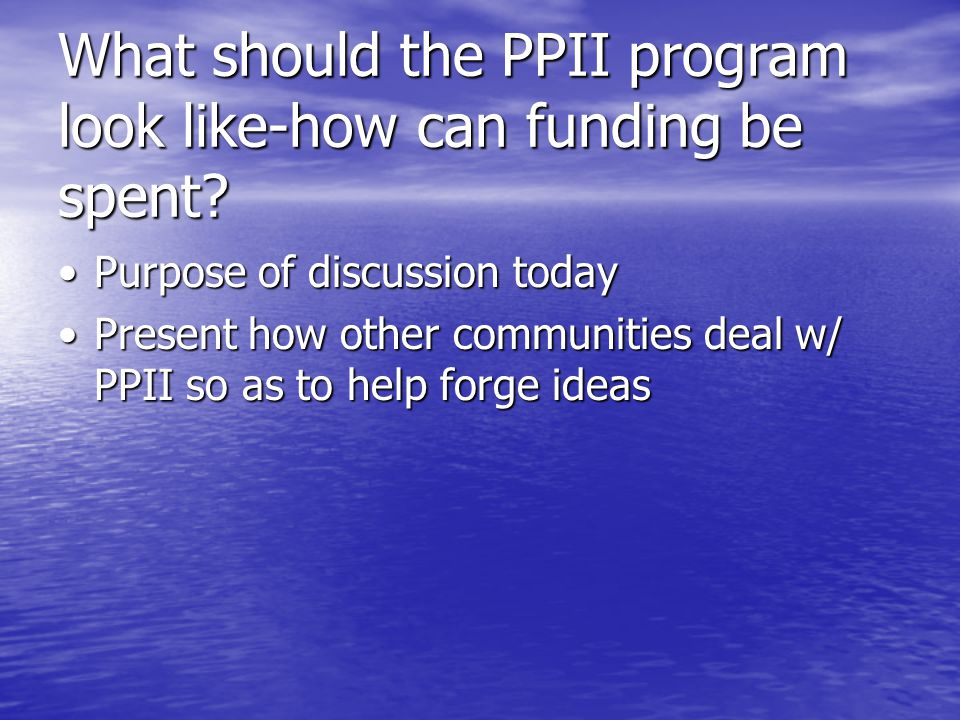 What should the PPII program look like-how can funding be spent.