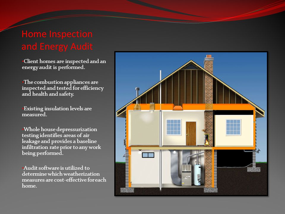 Home Inspection and Energy Audit Client homes are inspected and an energy audit is performed.