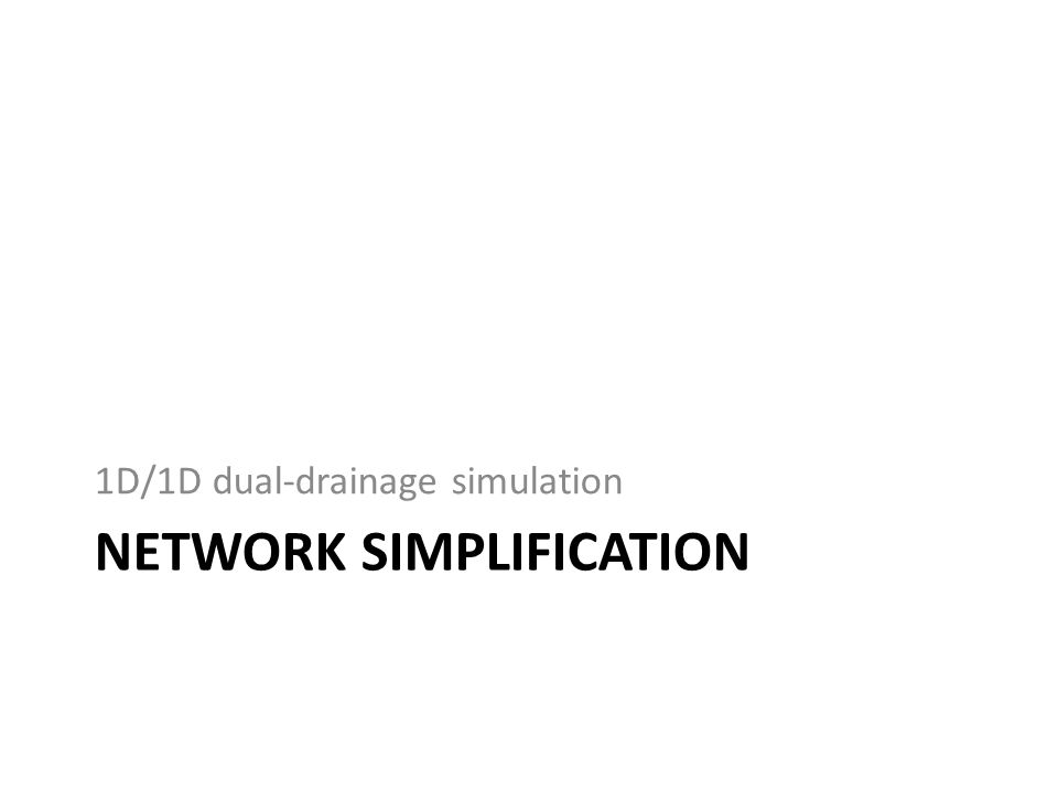 NETWORK SIMPLIFICATION 1D/1D dual-drainage simulation