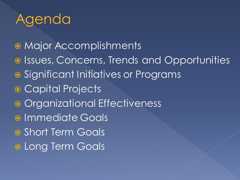 Major Accomplishments  Issues, Concerns, Trends and Opportunities  Significant Initiatives or Programs  Capital Projects  Organizational Effectiveness  Immediate Goals  Short Term Goals  Long Term Goals