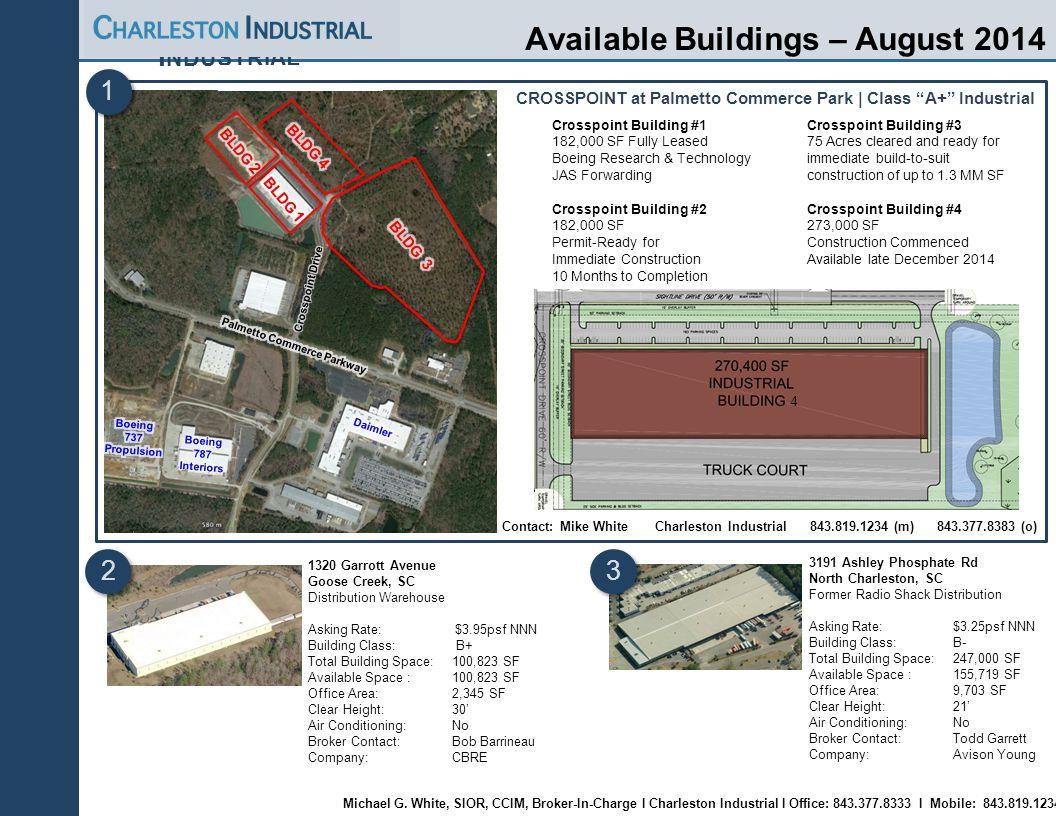 Charleston Industrial | Page 13 C HARLESTON I NDUSTRIAL Available Buildings – August 2014 3191 Ashley Phosphate Rd North Charleston, SC Former Radio S