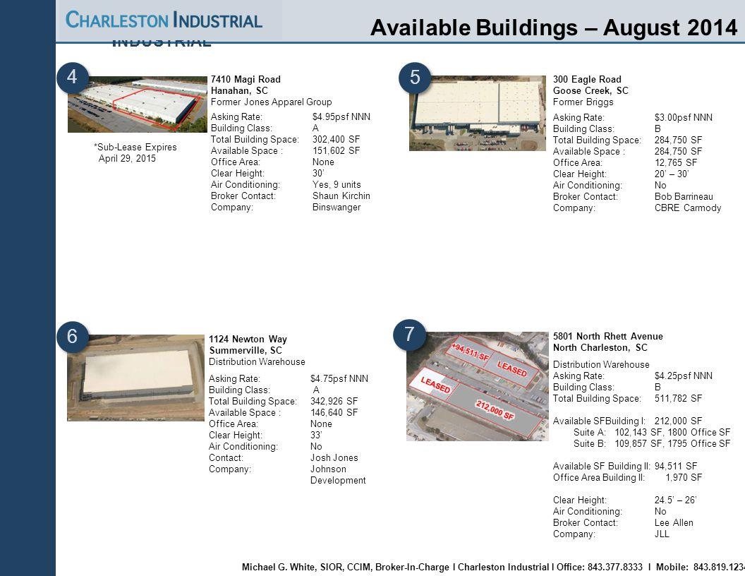 Charleston Industrial | Page 14 C HARLESTON I NDUSTRIAL Available Buildings – August 2014 7410 Magi Road Hanahan, SC Former Jones Apparel Group Asking