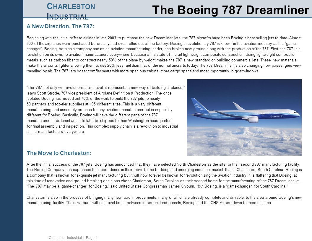 Charleston Industrial | Page 4 C HARLESTON I NDUSTRIAL The Boeing 787 Dreamliner A New Direction, The 787: Beginning with the initial offer to airline