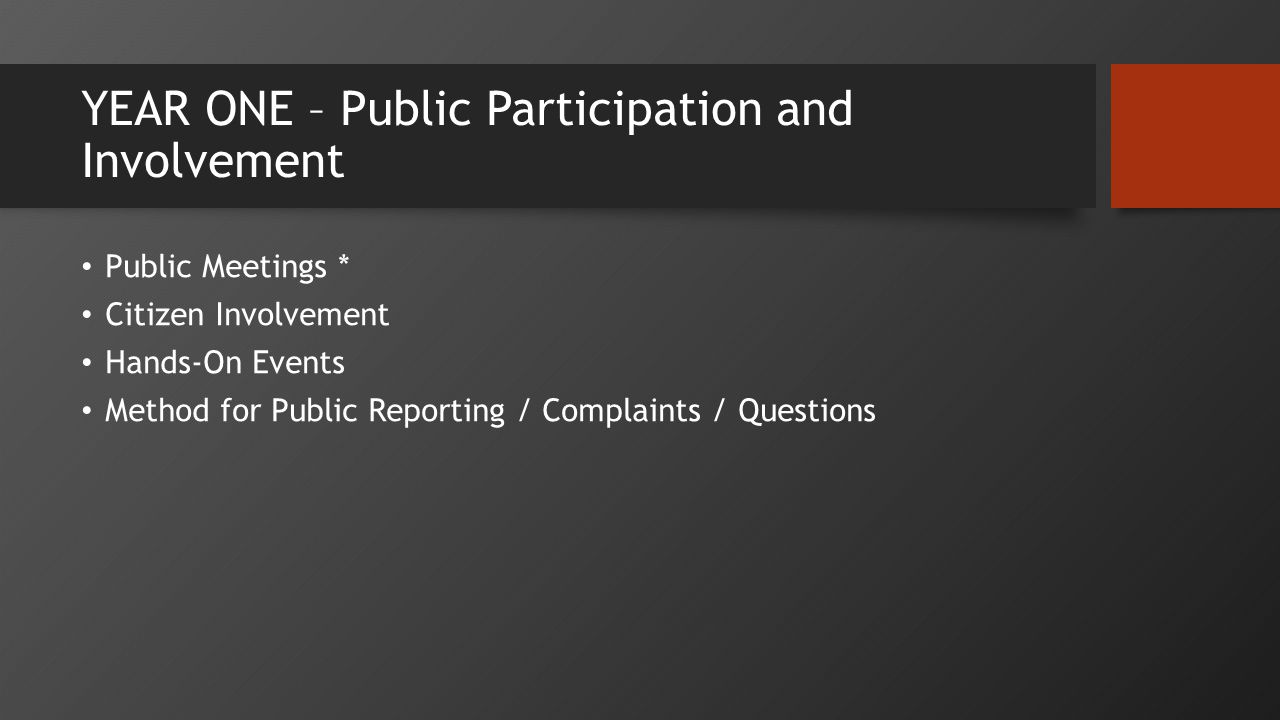 YEAR ONE – Public Participation and Involvement Public Meetings * Citizen Involvement Hands-On Events Method for Public Reporting / Complaints / Questions