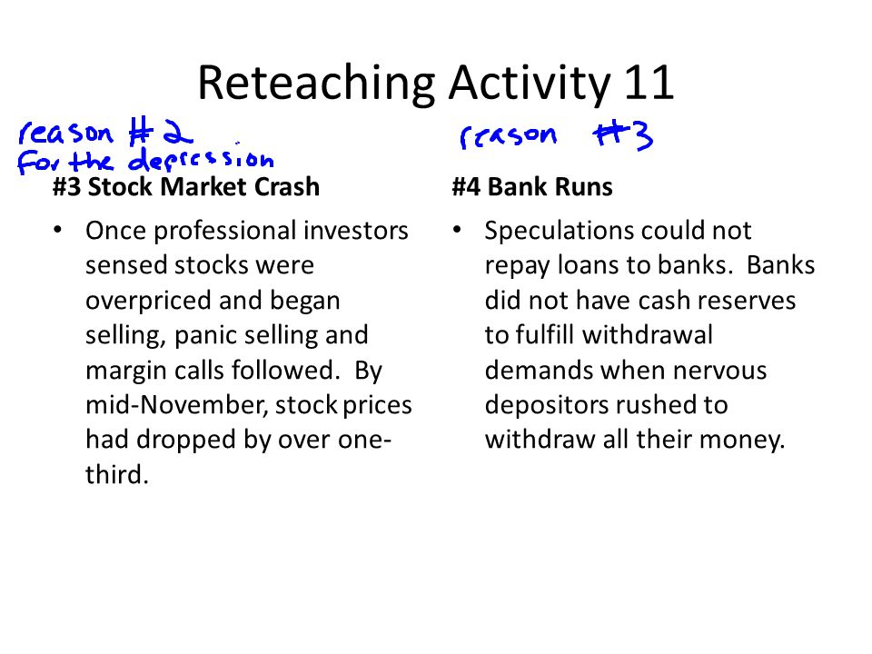 Reteaching Activity 11 #3 Stock Market Crash Once professional investors sensed stocks were overpriced and began selling, panic selling and margin calls followed.